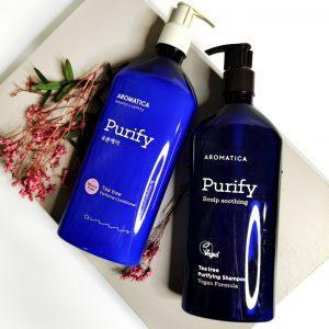 Szampon i odżywka z drzewa herbacianego do tłustej skóry głowy AROMATICA Tea Tree Purifying Shampoo and Conditioner 1