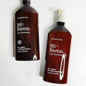 Bezsilikonowy szampon wzmacniający i odżywka z biotyną AROMATICA B5+Biotin Fortifying Shampoo and Conditioner 1