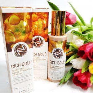 Odmładzający podkład do maskowania niedoskonałości skóry twarzy z cząstkami złota Enough Rich Gold Double Wear Radiance Foundation 3