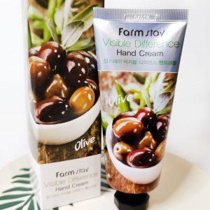 Odżywczy krem do kompleksowej pielęgnacji skóry dłoni z ekstraktem z oliwek FarmStay Visible Difference Hand Cream Olive 1
