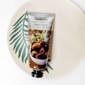 Odżywczy krem do kompleksowej pielęgnacji skóry dłoni z ekstraktem z oliwek FarmStay Visible Difference Hand Cream Olive 3