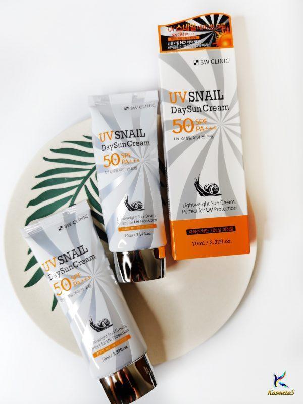 Codzienny krem przeciwsłoneczny z mucyną ślimaka 3W CLINIC UV Snail Day Sun Cream SPF50+PA+++ 3