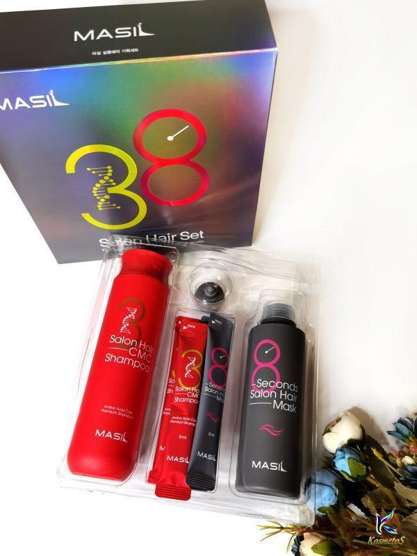 Zestaw do odbudowy włosów z keratyną i kolagenem Masil Salon Hair Set 3