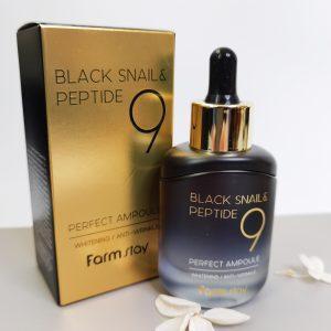 Serum przeciwstarzeniowe z czarnym ślimakiem i peptydami FarmStay Black Snail & Peptide 9 Perfect Ampoule 11