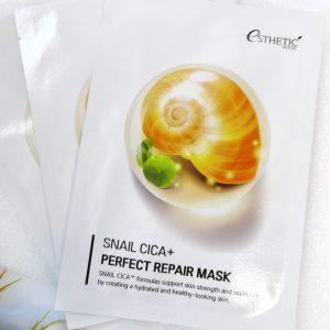 Regenerująca maseczka do skóry na bazie mucyny ślimakowej Esthetic House Snail Cica+Perfect Repair Mask 1