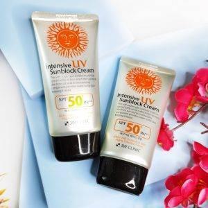 Intensywny Krem do twarzy z maksymalną ochroną przeciwsłoneczną 3W Clinic Intensive UV Sun Block Cream 3