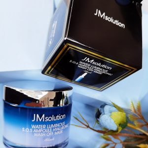 Niebieska nawilżająca maska z gliny JMsolution Water Luminious SOS Ampoule Hyaluronic Wash Off Mask 1