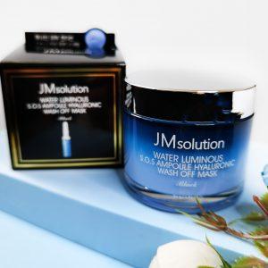 Niebieska nawilżająca maska z gliny JMsolution Water Luminious SOS Ampoule Hyaluronic Wash Off Mask 2