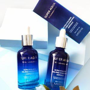 Serum nawilżające z 10 rodzajami kwasu hialuronowego Missha Super Aqua Ultra Hyalron Oil-Free Hydrating Ampoule 2